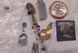 A bag of collectable items including salt glazed stoneware candle snuffer, hat pins, caddy spoons,