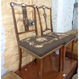 Two similar 19th Century rosewood framed bedroom chairs with decorative splats and tapestry seat