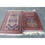 Two Iranian handmade prayer mats, one with a Mosque design with repeat geometric border, the other a