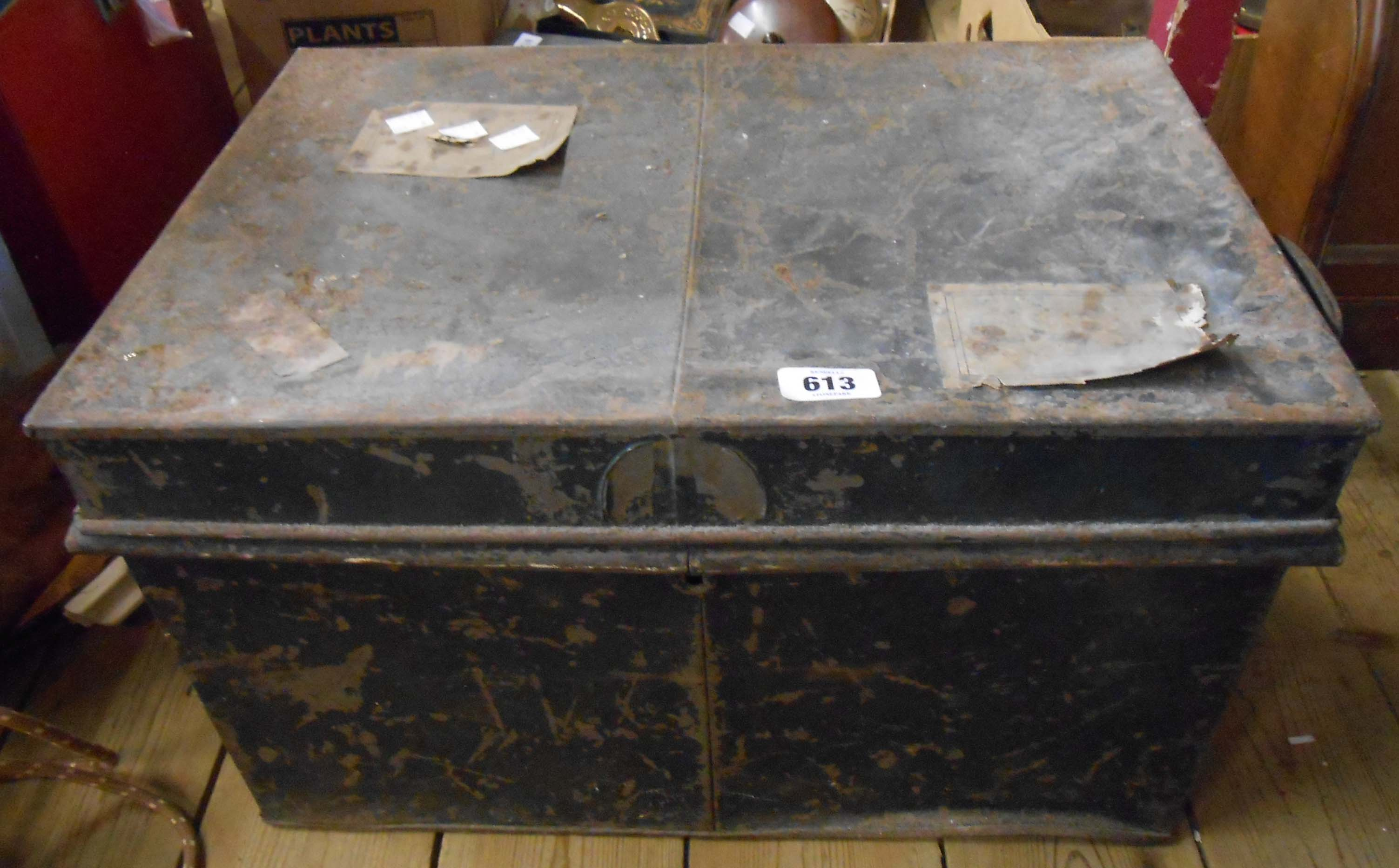 An old painted tin deed box
