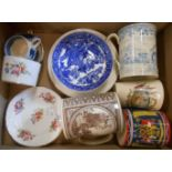 A box containing assorted commemorative and other ceramic items including 1924 Wembley Empire