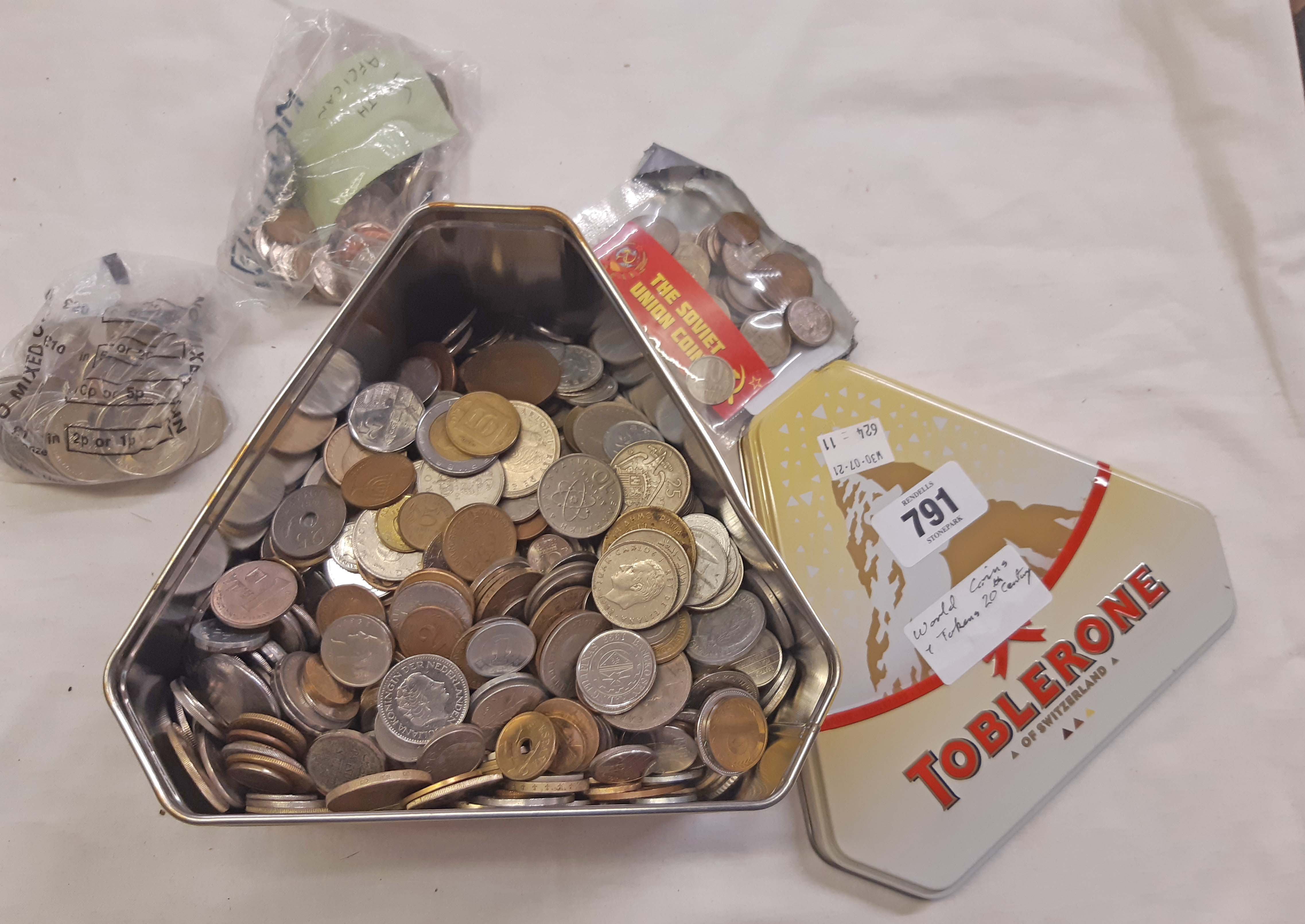 A Toblerone tin containing a quantity of 20th Century world coinage