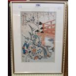 A framed Japanese woodblock print, depicting a seated man in a garden with children beneath a