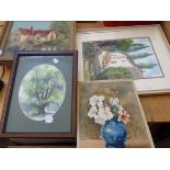 Four original works including Pat Simmonds watercolour and an Ella Hicks still life dated 1883