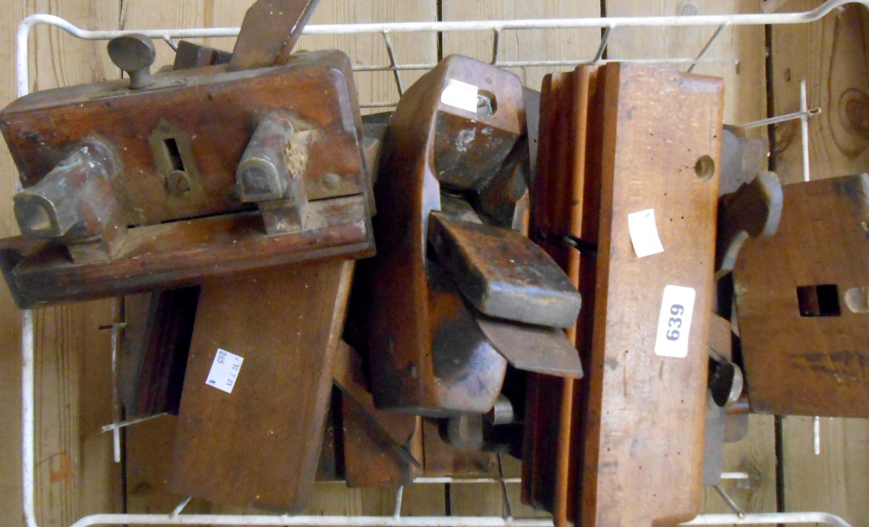 A crate containing assorted moulding and other planes