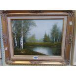 An ornate gilt and hessian framed oil on board, depicting a woodland river landscape -