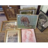 Three gilt framed L. Fennell prints, two modern Old Master reprints and four other pictures