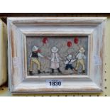 Mo Logan: a small oil on board, depicting children with balloons - signed