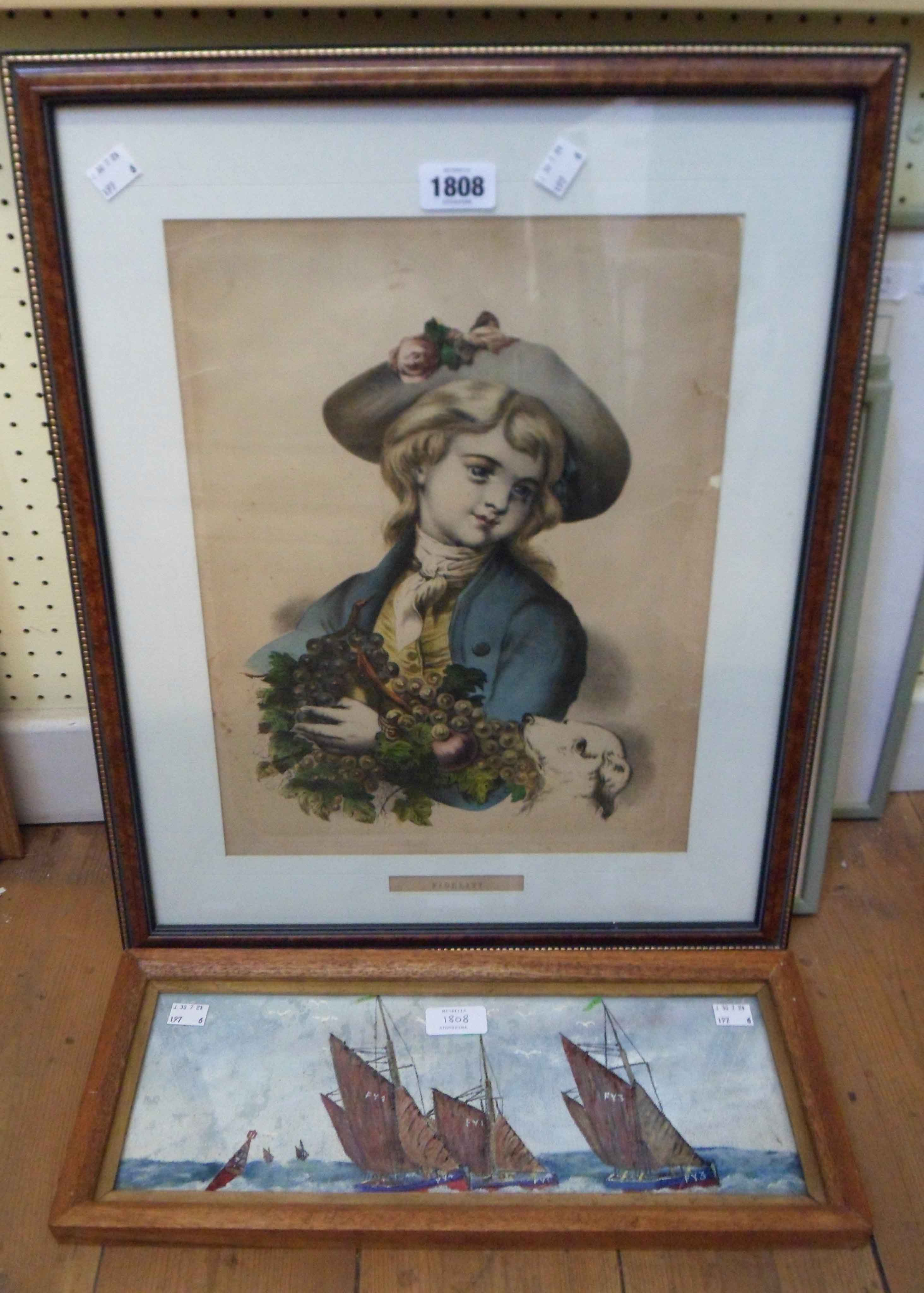 A framed coloured lithograph entitled Fidelity (a/f) - sold with a small canvas on board,