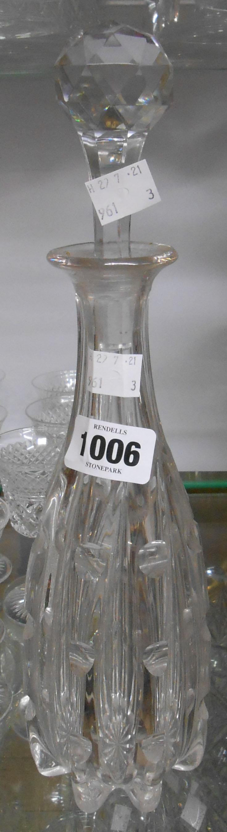 An Edwardian cut glass spirit decanter