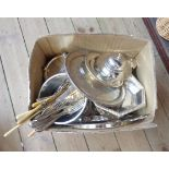 A quantity of silver plated items including three piece tea set, entree and other dishes, hors d'