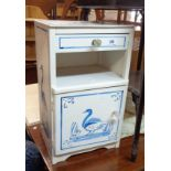 A 37cm painted mixed wood bedside cabinet with heron decoration, drawer, recess and door under