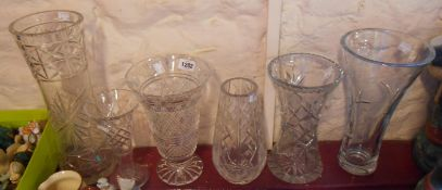 Six cut glass vases including Waterford, Edinburgh Crystal, etc. - various condition