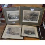 Four framed book plate engravings including Plymouth and Bristol scenes