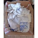 A box containing assorted linen