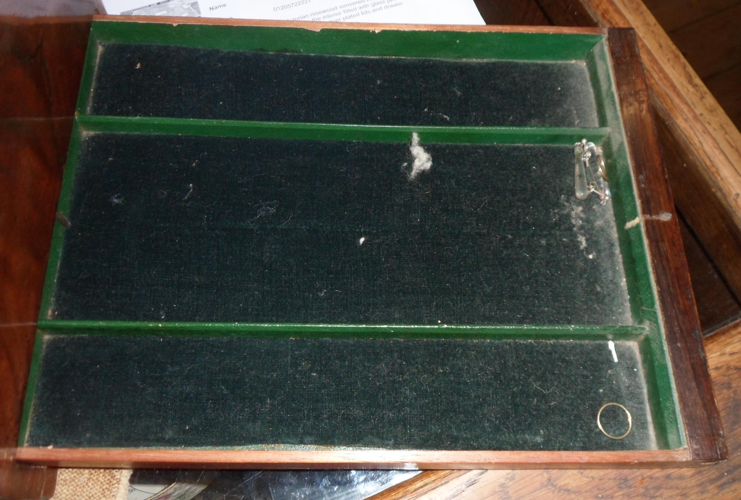A Victorian rosewood veneered travelling vanity box, the interior fitted with glass jars and boxes - Image 5 of 5