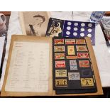 A scrap book collection of matchbox covers - sold with a Shell Man in Flight coin collection and a