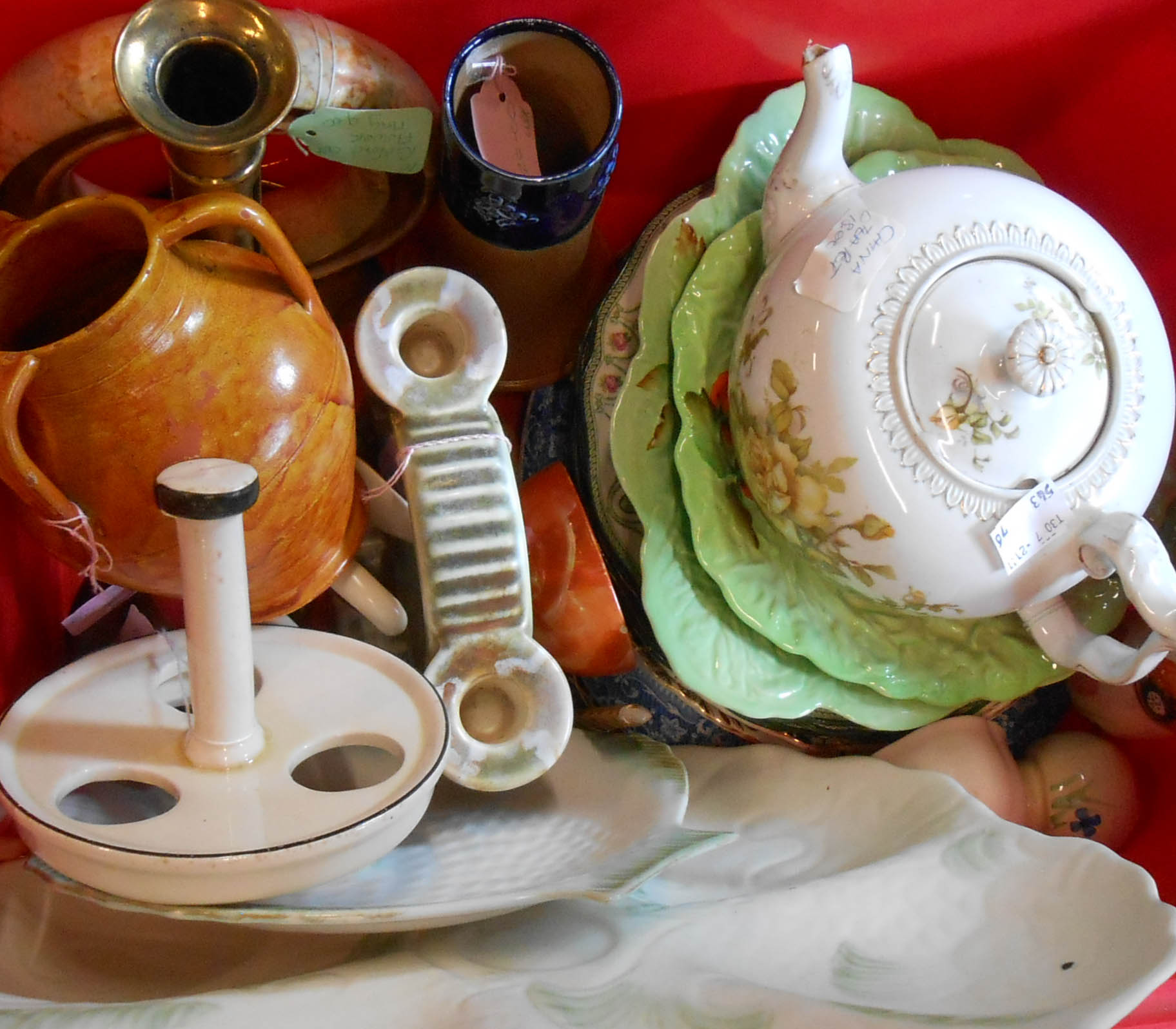 A crate containing assorted ceramic and other items including Shorter fish dishes, Royal Doulton