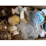 A box containing assorted ceramics and glassware including Aynsley, etc.