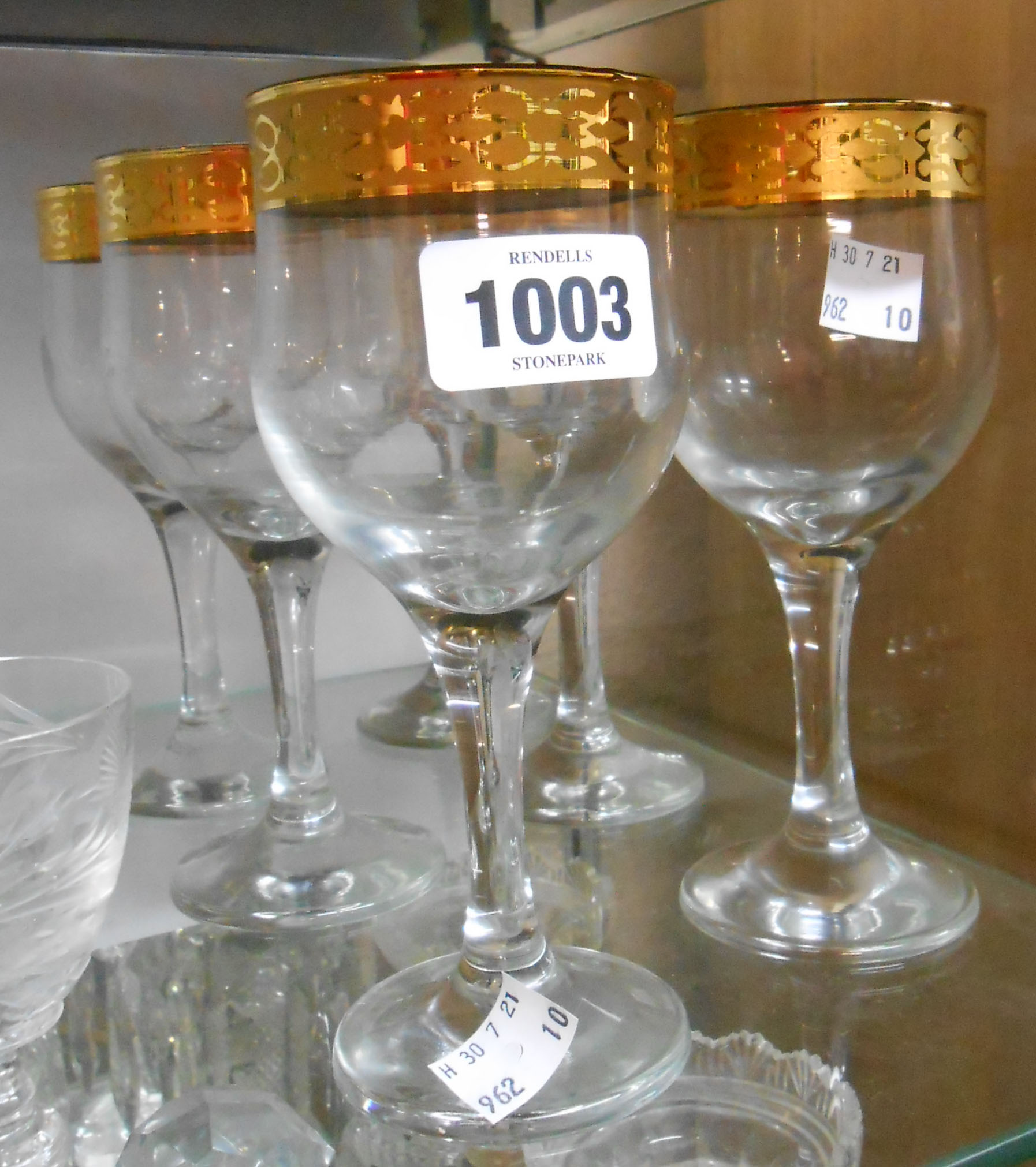 A set of six vintage drinking glasses with gilt decoration