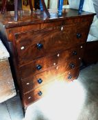 A 1.18m 19th Century mahogany and crossbanded secretaire chest with fitted writing drawer over three