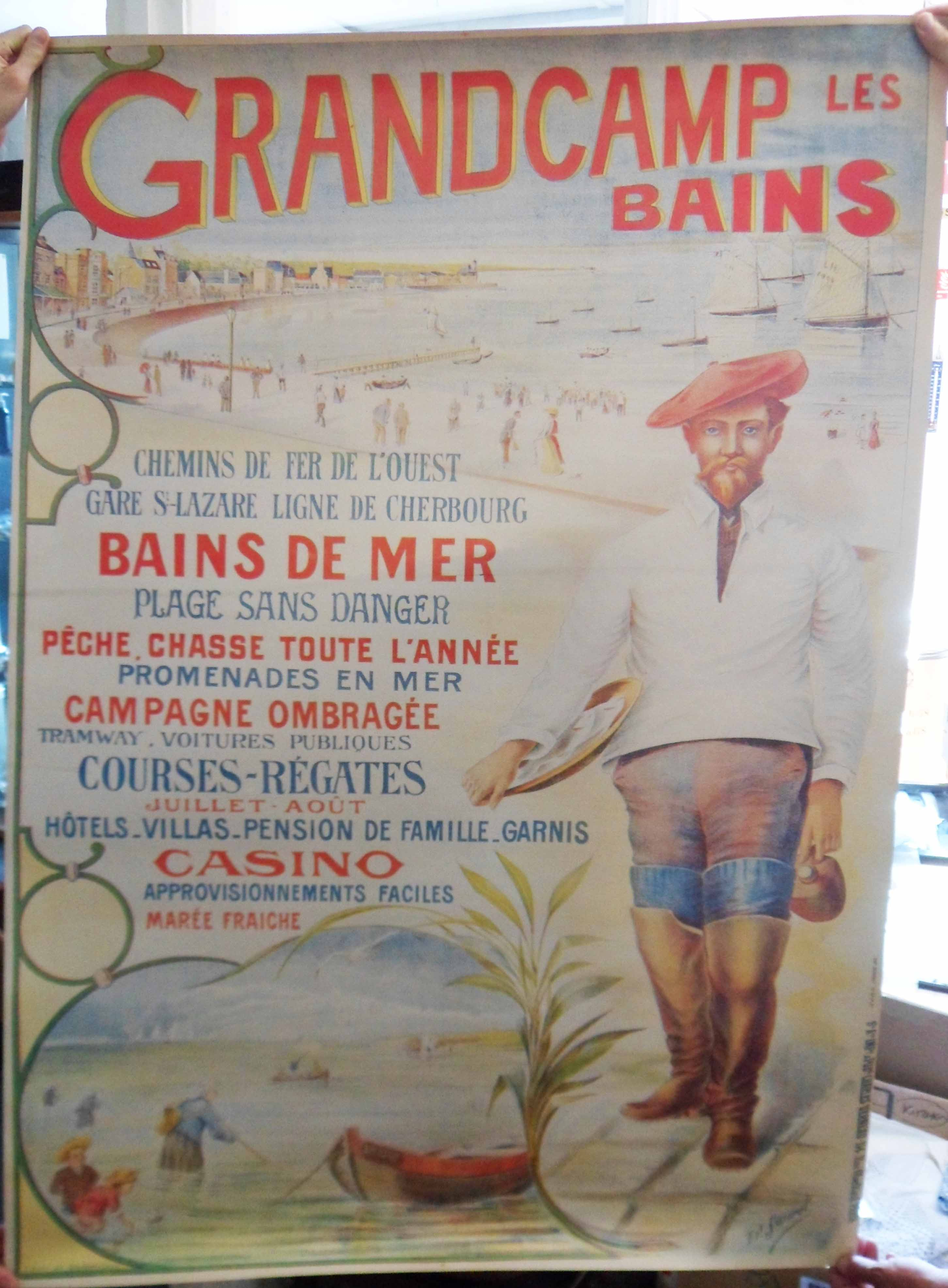 A large reproduction advertising poster on linen paper for Grandcamp les Bains