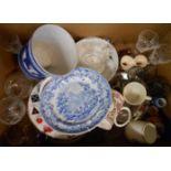 A box containing assorted ceramics and glass including commemorative ware, Dartington glass tankard,