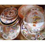 A box containing assorted Oriental and other plates