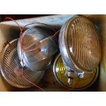 A pair of vintage Lucas TT car headlamps, etc.