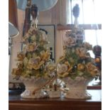 A pair of Italian Capodimonte table lamps in the form of baskets of cascading roses