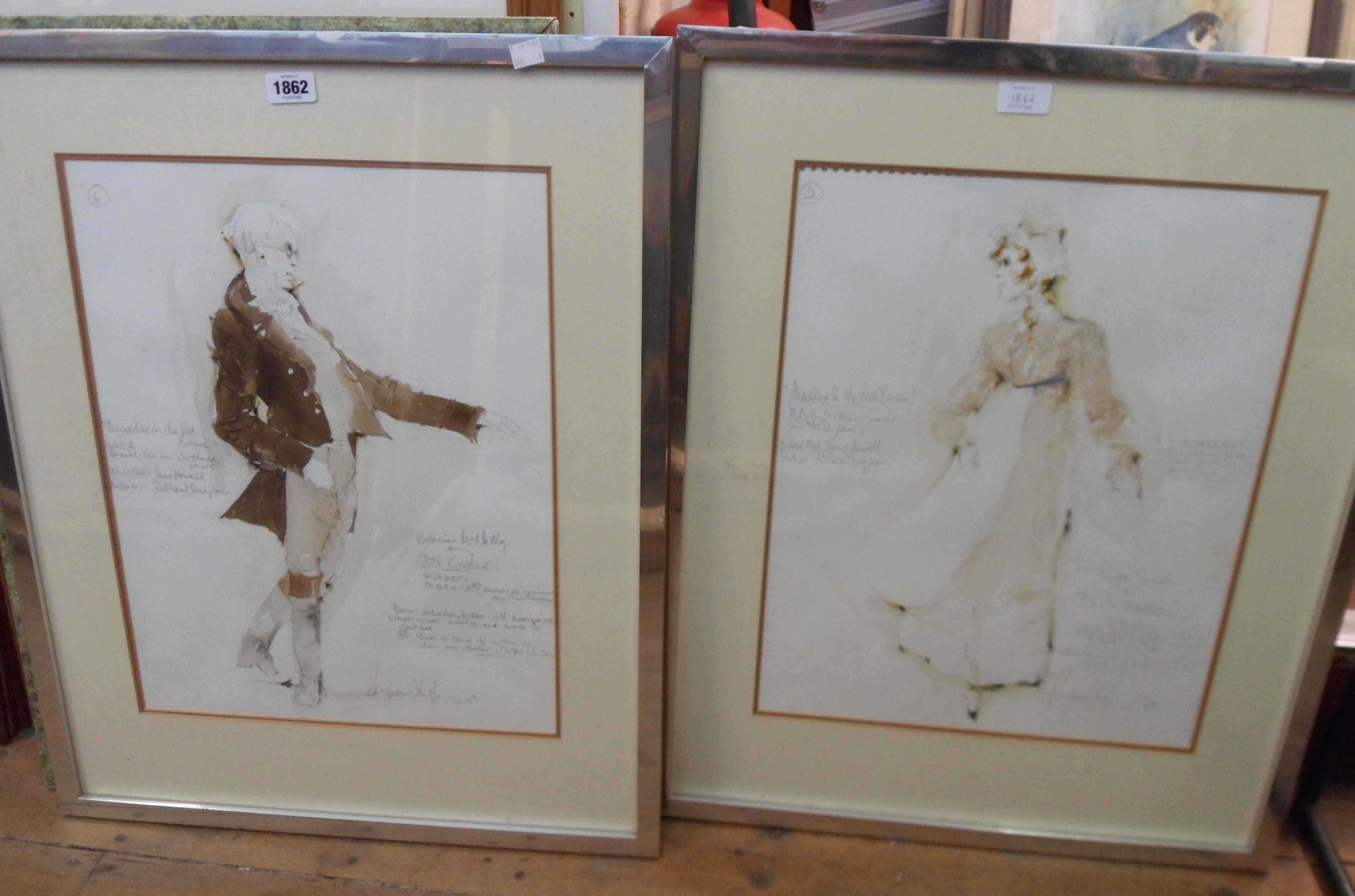 Raymond Hughes: a pair of metal framed original mixed media costume designs for Murder in the Red