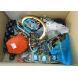 A box containing a quantity of assorted costume jewellery