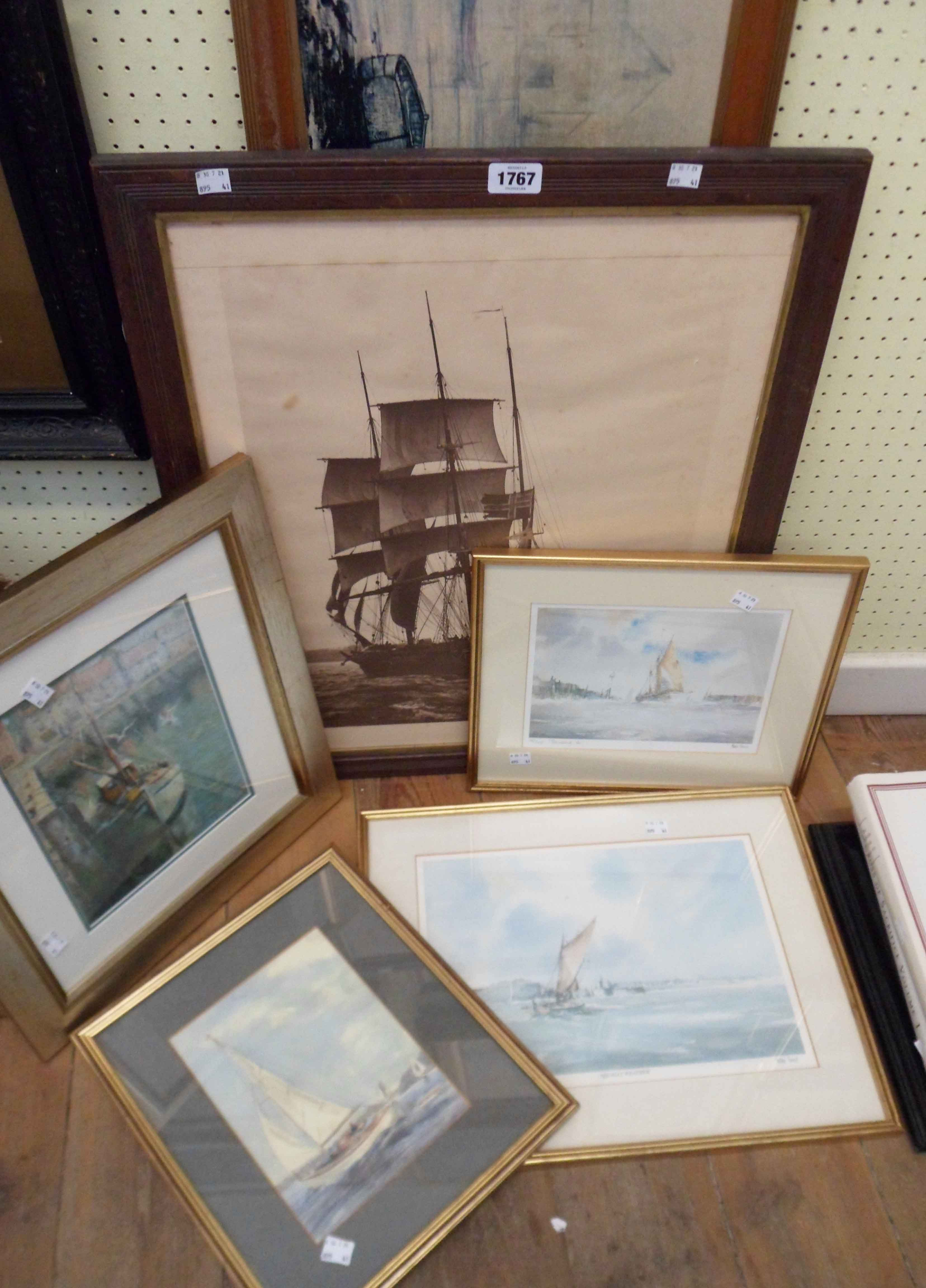A selection of framed maritime prints - various condition