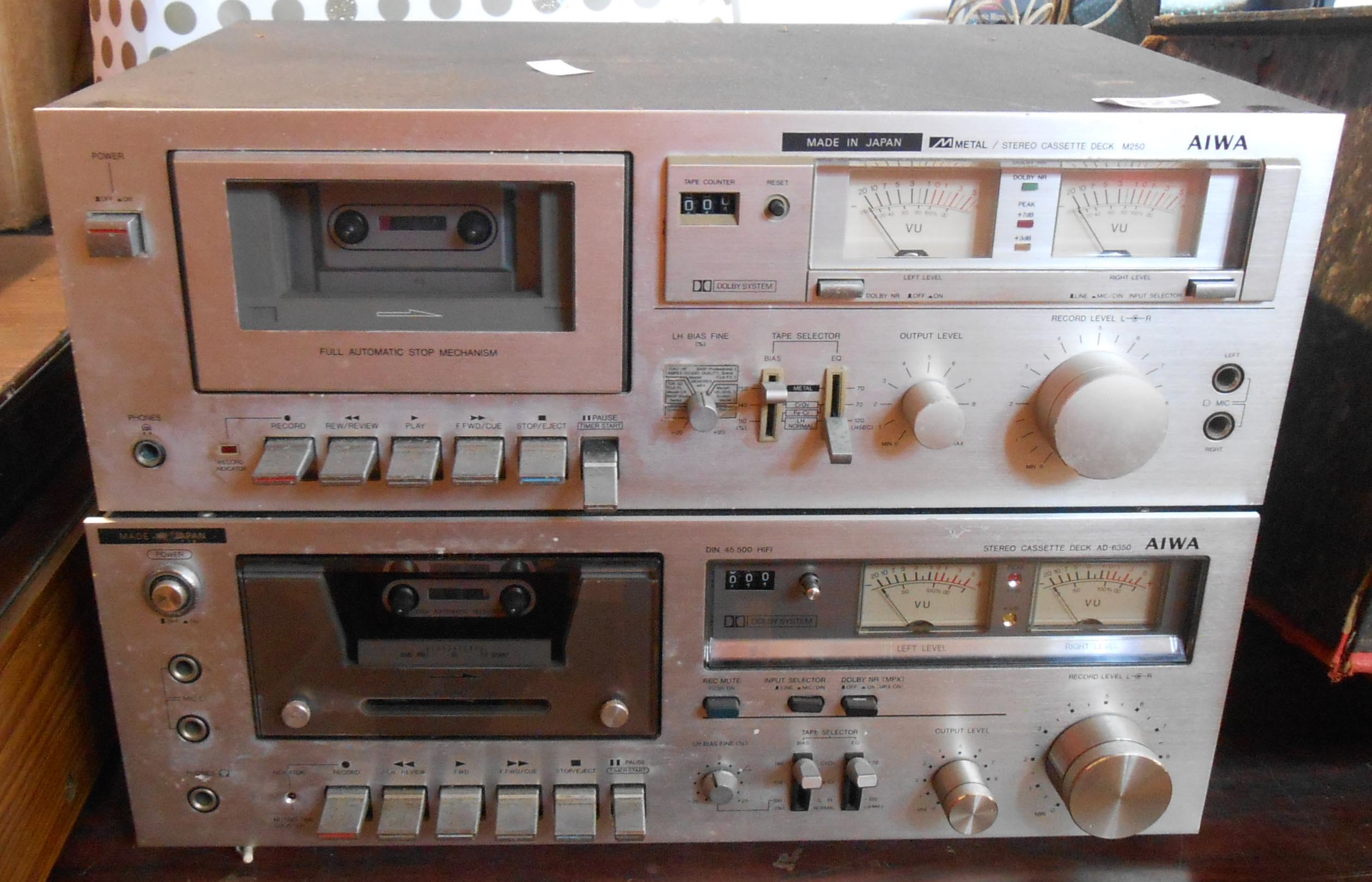 Two Aiwa stereo cassette decks, one an M250 the other AD6350