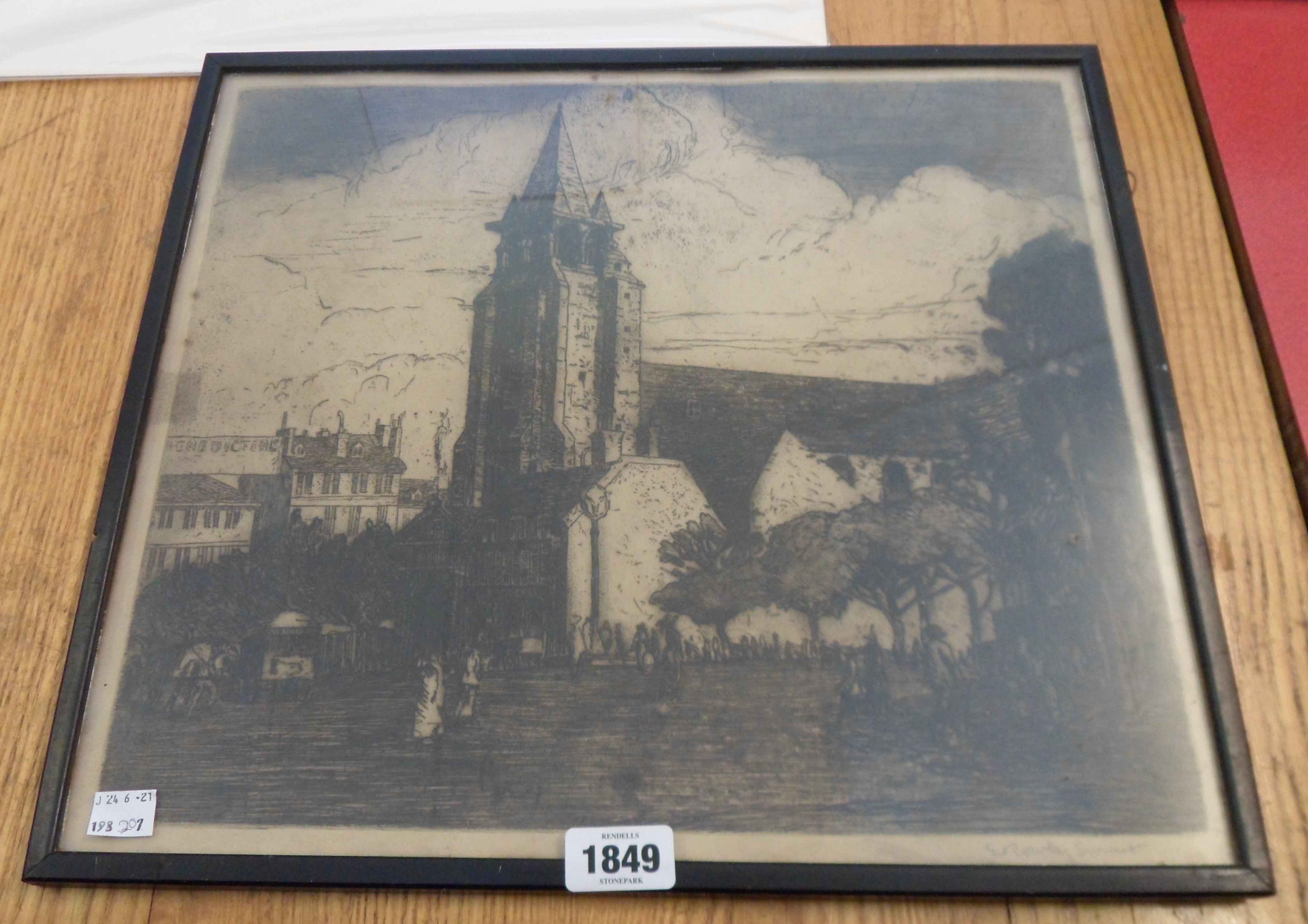 E. Rowly Smart: a framed monochrome etching, depicting figures around a church - signed in pencil to