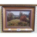 Doris Corbett: a gilt framed oil on board entitled The Trespasser - signed