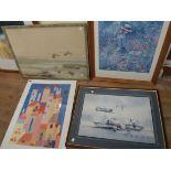 Four framed decorative prints - various condition