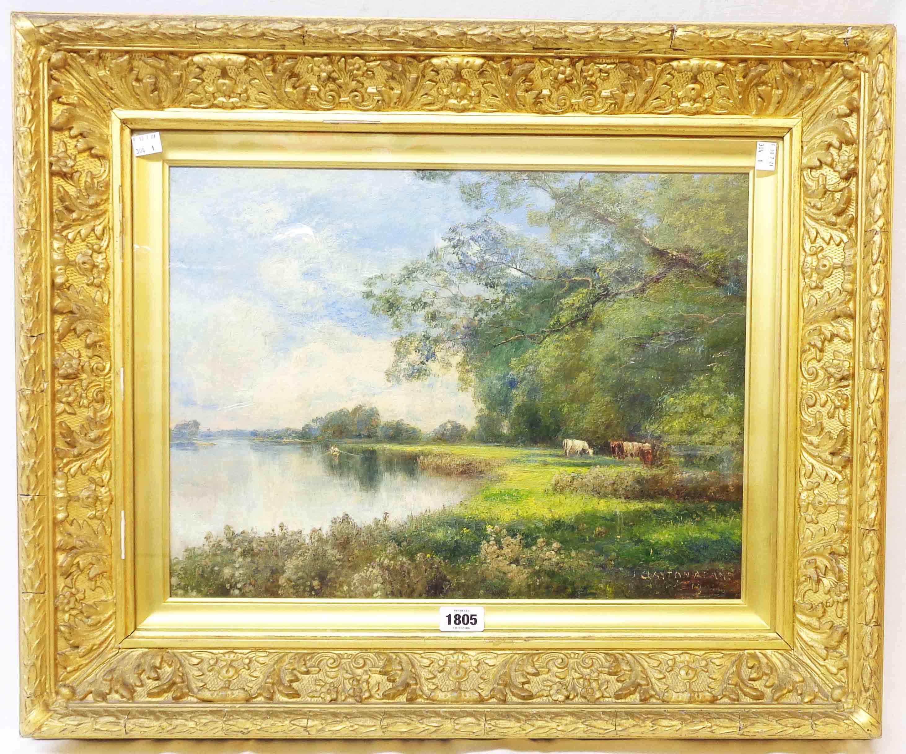 John Clayton Adams: an ornate gilt gesso framed oil on canvas under glass, depicting cattle - Image 2 of 2