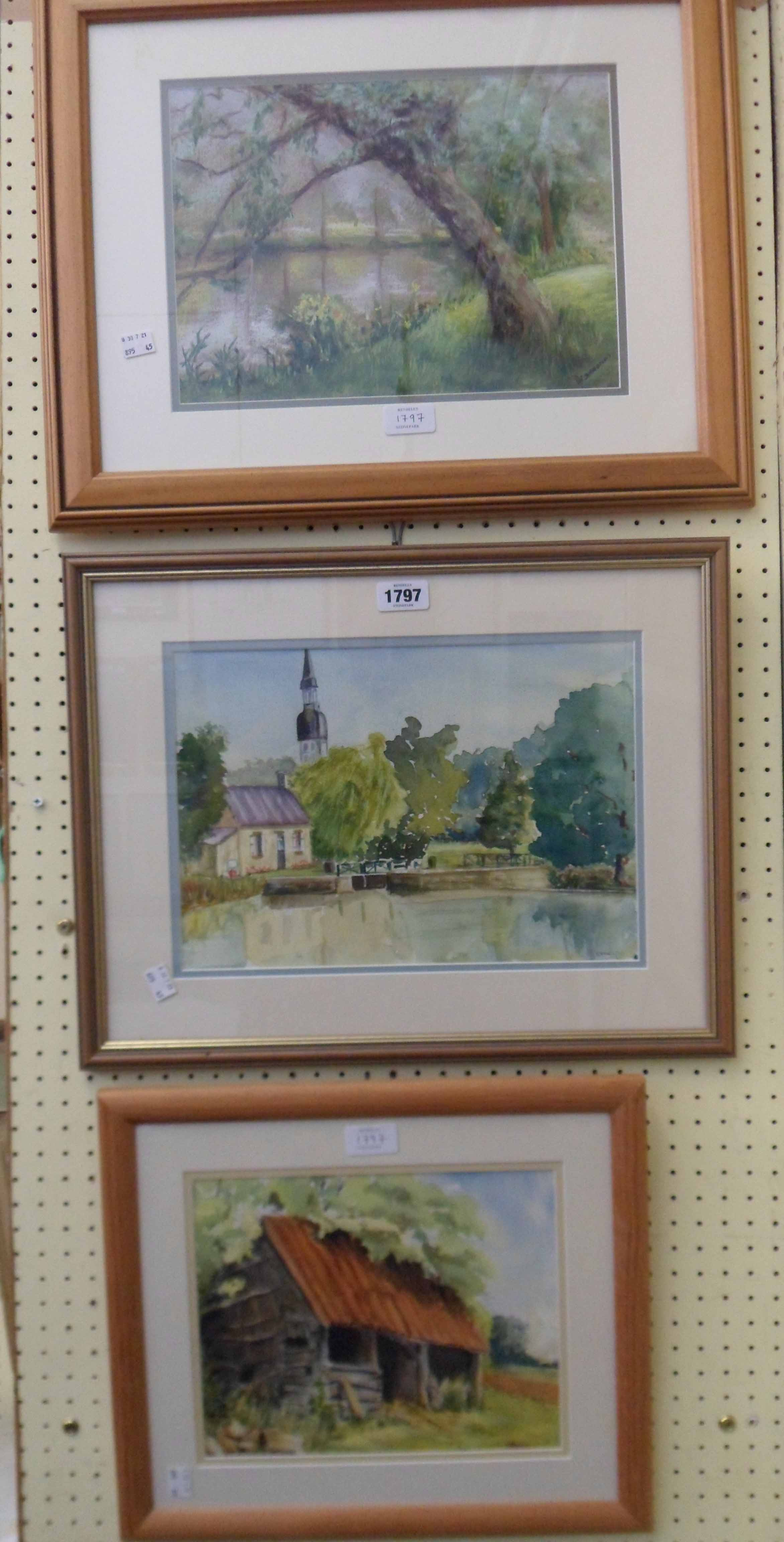 Pat Simmonds: three framed original works comprising two watercolours entitled The Old Barn and