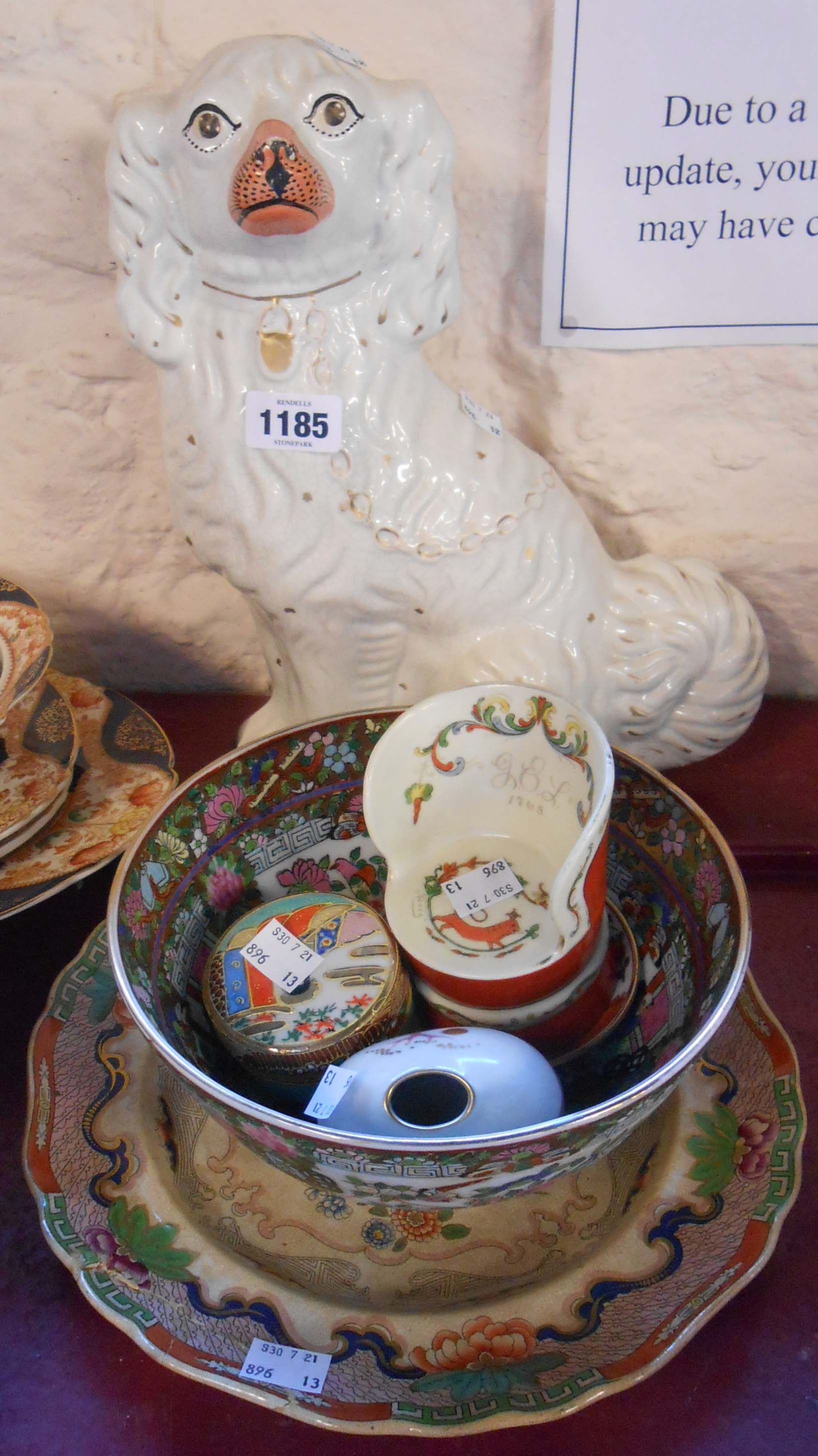 A quantity of assorted ceramics including Porsgrund Norway porcelain chair, modern Chinese bowl,