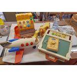 Four vintage Fisher Price toys including cash register, school days desk, Pop Goes the Weasel