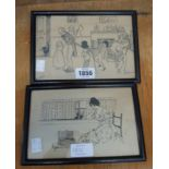 Two framed small ink drawings by D. Fuller and Slightly, both depicting figures in interiors