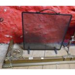 A brass fire kerb fender with decorative roundels to corners - sold with a wrought iron mesh fire