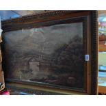A gilt framed 19th Century oil on canvas with boat on a river with bridge beyond - very poor