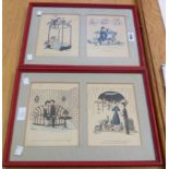 †Peynet: a pair of painted framed double image prints, depicting lovers