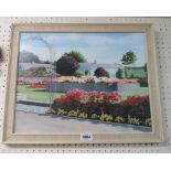 Stewart Williscroft: a vintage oil on board, depicting bungalows and flowerbeds - signed