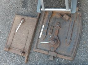 Two antique bread oven doors - one hinge a/f