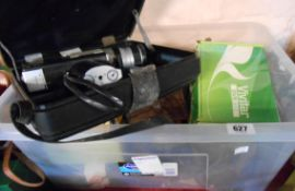 A box containing a selection of vintage cameras including Canon camcorder, Kodak EK6 Instant, etc.