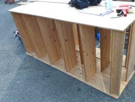 A 1.90m pine five shelf open shelving unit