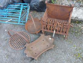 A quantity of metalware including iron fire basket, glue pot, etc.